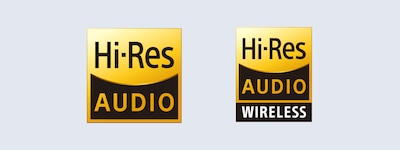 Logos Hi-Res Audio et Hi-Res Audio sans fil