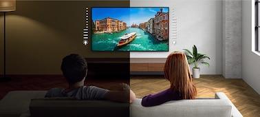 Image d'un écran illustrant les avantages du capteur de lumière