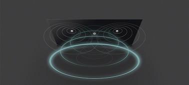 Image d'ondes sonores provenant du téléviseur avec Acoustic Surface Audio+