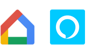 Logo's van Google Home en Amazon Alexa